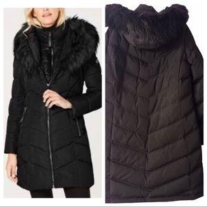 Calvin Klein Black Double Layer Puffer with Faux Fur Hood 2X XXL